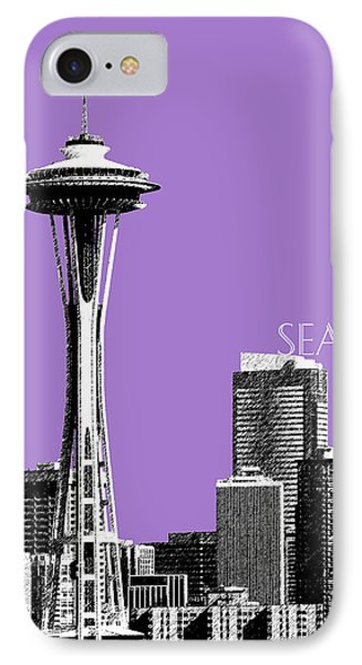 Seattle Skyline Space Needle - Violet IPhone Case by DB Artist