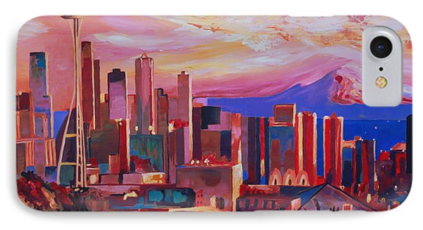 Seattle Skyline With Space Needle And Mt Rainier Phone Case by M Bleichner