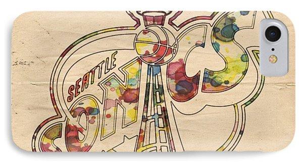 Seattle Sonics Retro Poster Phone Case by Florian Rodarte