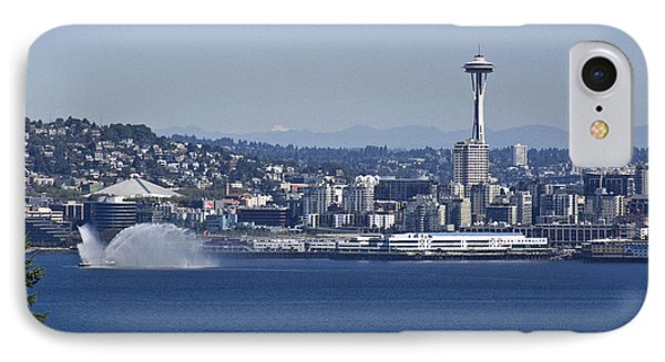 Seattle Space Needle And Fire Boat Phone Case by Ron Roberts