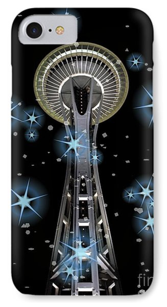 IPhone Case featuring the digital art Seattle Space Needle Blue Stars by Chalet Roome-Rigdon