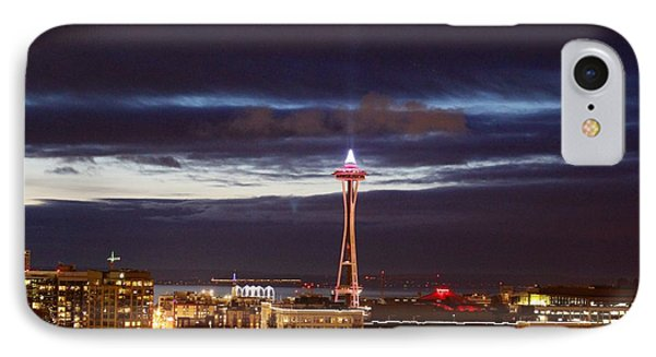 Seattle Space Needle Holidays  IPhone Case by Suzanne Lorenz