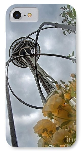 IPhone Case featuring the photograph Seattle Spaceneedle With Watercolor Effect Yellow Roses by Valerie Garner