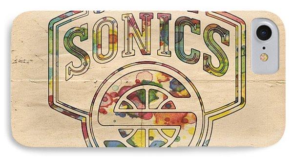 Seattle Supersonics Poster Art Phone Case by Florian Rodarte