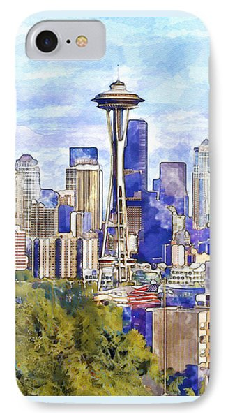 Seattle View In Watercolor IPhone Case