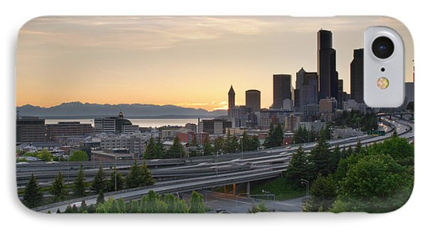 IPhone Case featuring the photograph Seattle Washington Downtown City Sunset by JPLDesigns
