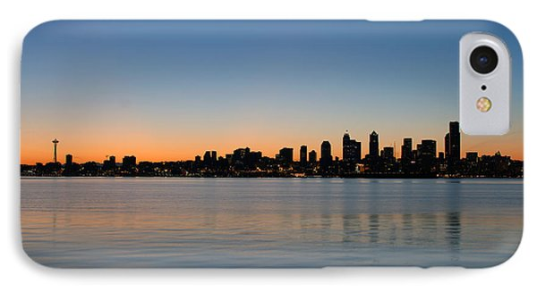 IPhone Case featuring the photograph Seattle Washington Waterfront Skyline At Sunrise Panorama by JPLDesigns