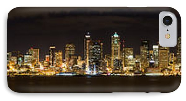 Seattle Waterfront At Night Panoramic IPhone Case by Chris McKenna