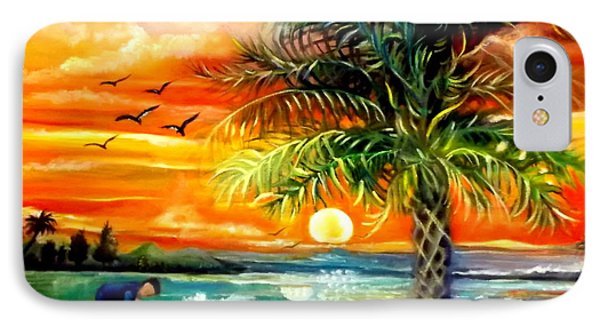IPhone Case featuring the painting Seawaves Sunset In Tampa by Yolanda Rodriguez