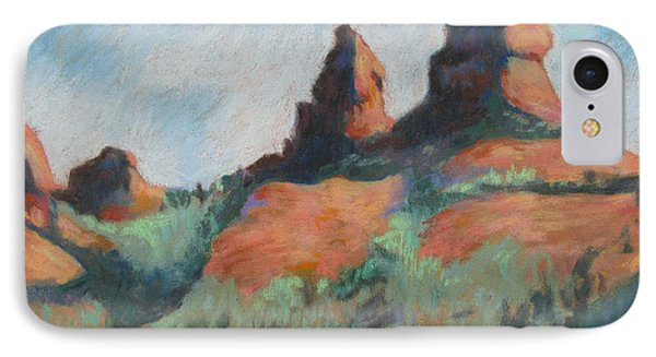IPhone Case featuring the painting Sedona Sisters by Linda Novick