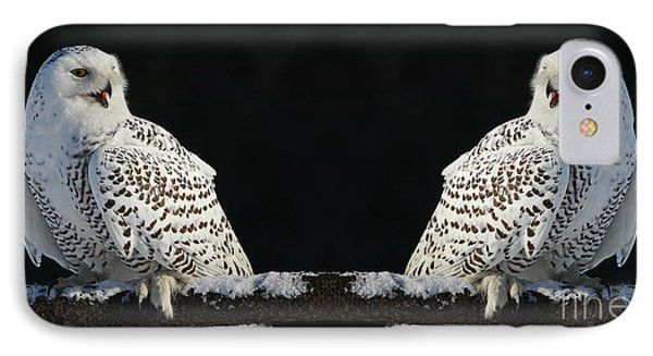 Seeing Double- Snowy Owl At Twilight Phone Case by Inspired Nature Photography Fine Art Photography