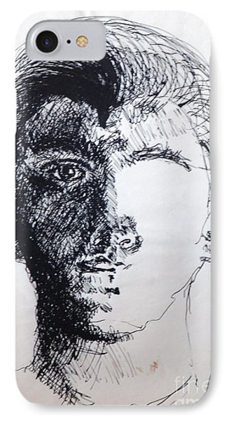 IPhone Case featuring the drawing Self Portrait At 21 by Rod Ismay