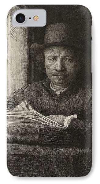 Self-portrait Etching At A Window IPhone Case by Rembrandt