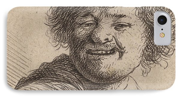 Self Portrait In A Cap Laughing IPhone Case by Rembrandt