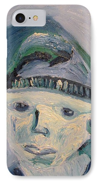 IPhone Case featuring the painting Self Portrait In Blue And Green by Shea Holliman