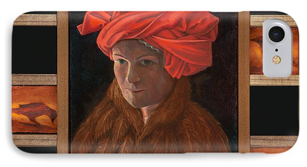 IPhone Case featuring the painting Self-portrait In The Red Turban by Alla Parsons