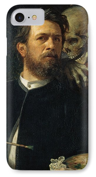 Self-portrait With Death As A Fiddler IPhone Case by Celestial Images