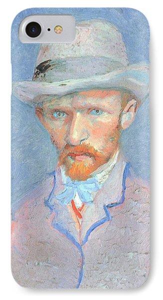 Self-portrait With Gray Felt Hat IPhone Case by Vincent van Gogh