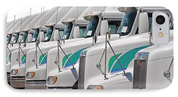 Semi Truck Fleet IPhone Case by Gunter Nezhoda