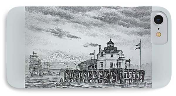 Semiahmoo Lighthouse - Drawing Phone Case by James Williamson
