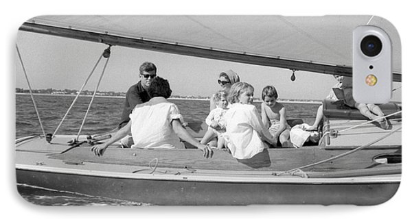 Senator John F. Kennedy With Jacqueline And Children Sailing IPhone Case by The Harrington Collection