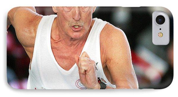 Senior British Masters Athlete Running IPhone Case by Alex Rotas