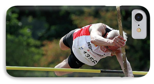 Senior Pole Vaulter Clearing The Bar IPhone Case by Alex Rotas