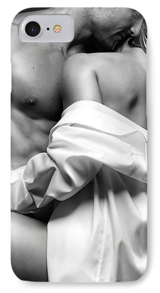 Sensual Couple Portrait Woman Embracing A Muscular Man IPhone Case by Oleksiy Maksymenko