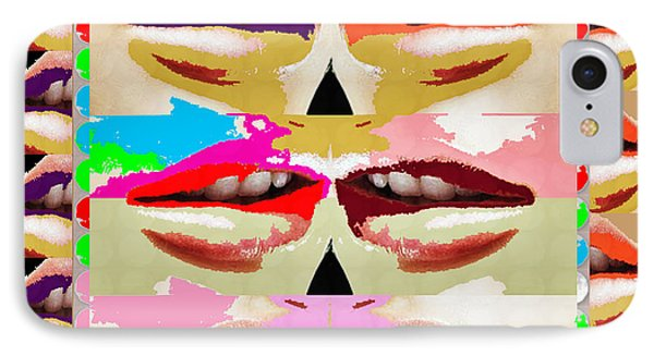 Sensual Lips Love To Kiss Background Designs  And Color Tones N Color Shades Available For Download  IPhone Case by Navin Joshi