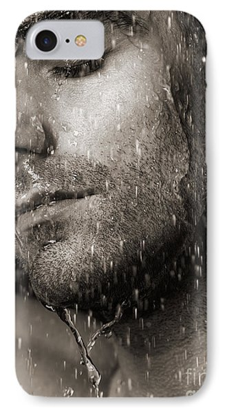Sensual Portrait Of Man Face Under Pouring Water Black And White Phone Case by Oleksiy Maksymenko
