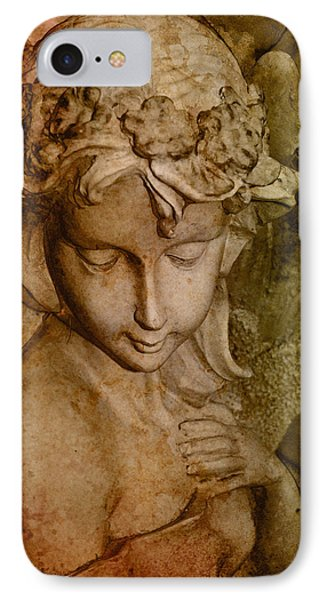 Sepia Angel IPhone Case by WB Johnston