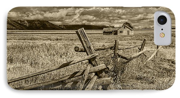 Sepia Colored Photo Of A Wood Fence By The John Moulton Farm IPhone Case by Randall Nyhof