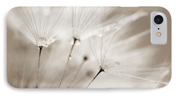 Sepia Dandelion Clock And Water Droplets Phone Case by Natalie Kinnear