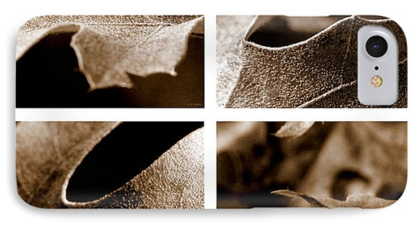 IPhone Case featuring the photograph Sepia Leaf Collage by Lauren Radke