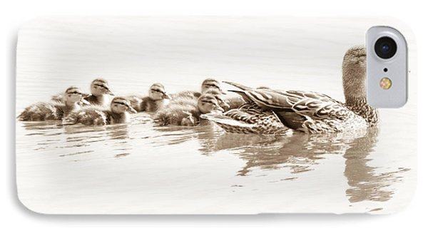 IPhone Case featuring the photograph Sepia Mallard Family by Anita Oakley