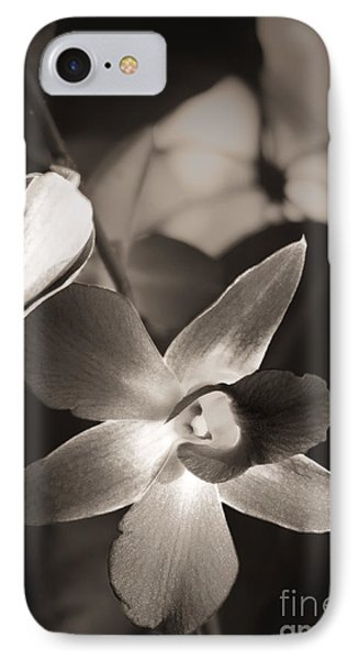 IPhone Case featuring the photograph Sepia Orchid by Ellen Cotton