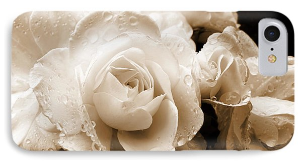 Sepia Roses With Rain Drops IPhone Case
