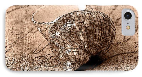 Sepia Seashell IPhone Case by Karen Stephenson
