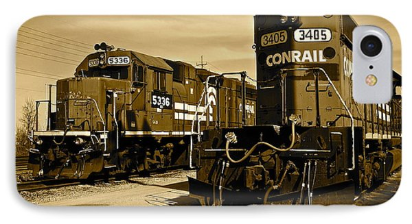 Sepia Trains Phone Case by Frozen in Time Fine Art Photography