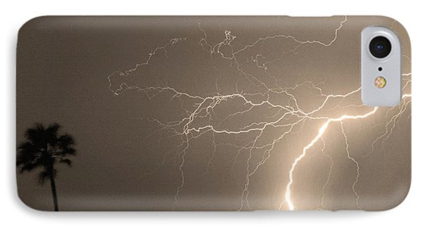 Sepia Tropical Thunderstorm Night  Phone Case by James BO  Insogna