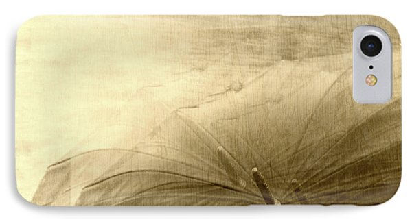 Sepia Umbrella Impressions In The Rain IPhone Case by Suzanne Powers