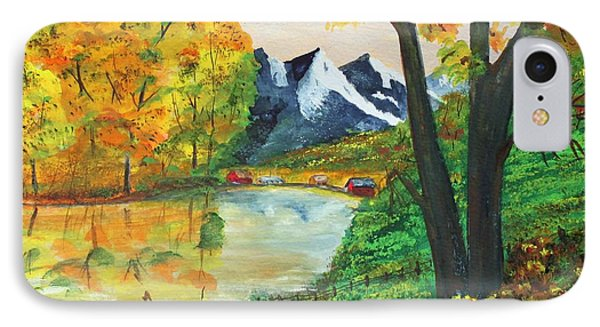 IPhone Case featuring the painting September Reflections by Jack G  Brauer