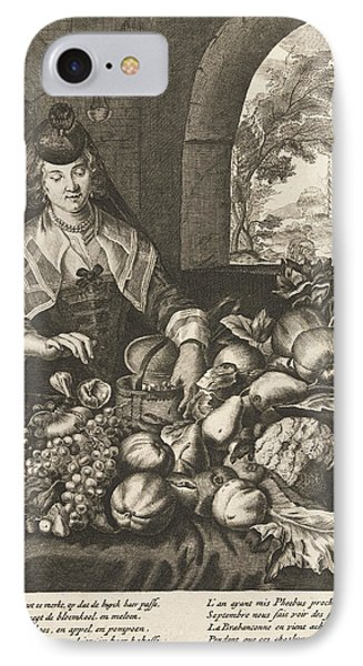 September Represented As Woman At Table Laden With Fruits IPhone Case by Cornelis Van Dalen Ii And Anonymous And Joachim Von Sandrart