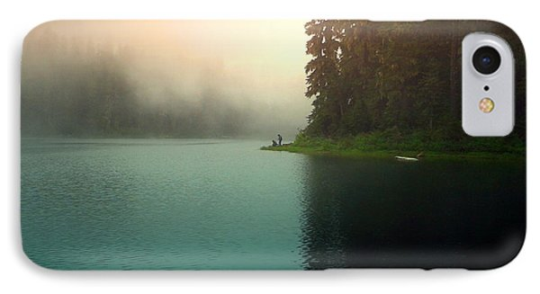 Serenity On Blue Lake Foggy Afternoon IPhone Case by Joyce Dickens