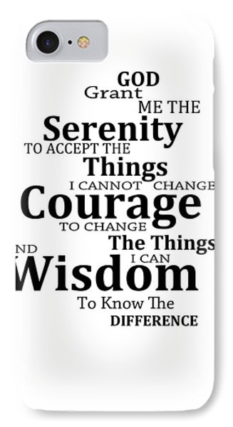 Serenity Prayer 6 - Simple Black And White Phone Case by Sharon Cummings