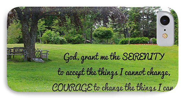 Serenity Prayer And Park Bench IPhone Case by Barbara Griffin