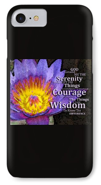 Serenity Prayer With Lotus Flower By Sharon Cummings IPhone Case by Sharon Cummings