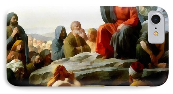 Sermon On The Mount Watercolor Phone Case by Carl Bloch