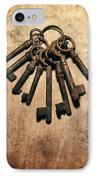 Set Of Old Rusty Keys On The Metal Surface Phone Case by Jaroslaw Blaminsky