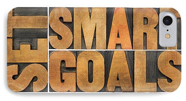Set Smart Goals In Wood Type IPhone Case by Marek Uliasz